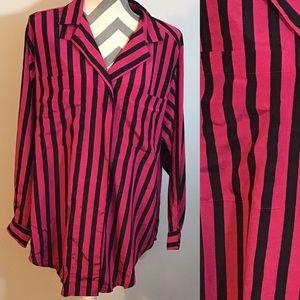 Vintage 80s 90s Hot Pink and Black Stripe Blouse